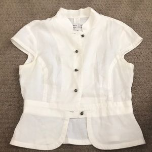 Trina Turk White Button Up Linen Blouse
